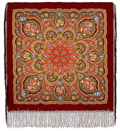 В лунном свете в лоскуте 1235-5-, павлопосадский платок (лоскут уплонтенной шерсти) шерстяной  с оверлок (подрубка) БЕЗ БАХРОМЫ