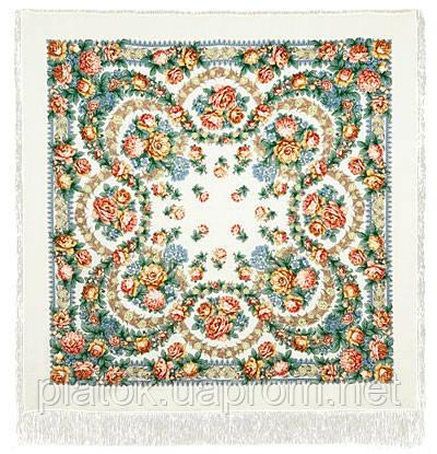 Вдоль по реченьке в лоскуте 696-1-, павлопосадский платок (лоскут) шерстяной  с оверлок (подрубка) БЕЗ БАХРОМЫ