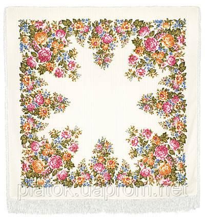 Весеннее цветение в лоскуте 1379-1-, павлопосадский платок (лоскут) шерстяной (с просновками) с оверлок (подрубка) БЕЗ БАХРОМЫ