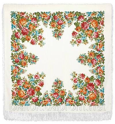 Весеннее цветение в лоскуте 1379-4-, павлопосадский платок (лоскут) шерстяной (с просновками) с оверлок (подрубка) БЕЗ БАХРОМЫ