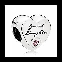 Серебряный шарм Любимая внучка
