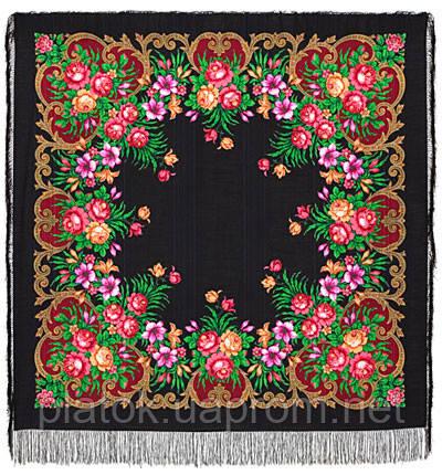 Осеннее танго в лоскуте 1538-18-, павлопосадский платок (лоскут) шерстяной (с просновками) с оверлок (подрубка) БЕЗ БАХРОМЫ
