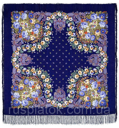 Подмосковные вечера в лоскуте 1293-14-, павлопосадский платок (лоскут) шерстяной (с просновками) с оверлок (подрубка) БЕЗ БАХРОМЫ