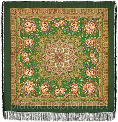 Таинственная муза в лоскуте 1461-10-, павлопосадский платок (лоскут) шерстяной с оверлок (подрубка) БЕЗ БАХРОМЫ