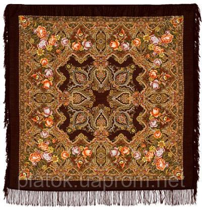 Городской романс в лоскуте 1220-17-, павлопосадский платок (лоскут) шерстяной с оверлок (подрубка) БЕЗ БАХРОМЫ