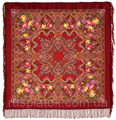 Городской романс в лоскуте 1220-6-, павлопосадский платок (лоскут) шерстяной с оверлок (подрубка) БЕЗ БАХРОМЫ