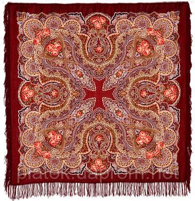 Звонница в лоскуте 1158-6-, павлопосадский платок (лоскут) шерстяной с оверлок (подрубка) БЕЗ БАХРОМЫ
