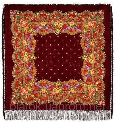 Красная горка в лоскуте 1218-7-, павлопосадский платок (лоскут) шерстяной с оверлок (подрубка) БЕЗ БАХРОМЫ