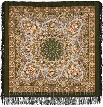 Ласковый вечер в лоскуте 1184-10-, павлопосадский платок (лоскут) шерстяной с оверлок (подрубка) БЕЗ БАХРОМЫ