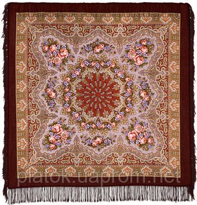Ласковый вечер в лоскуте 1184-17-, павлопосадский платок (лоскут) шерстяной с оверлок (подрубка) БЕЗ БАХРОМЫ