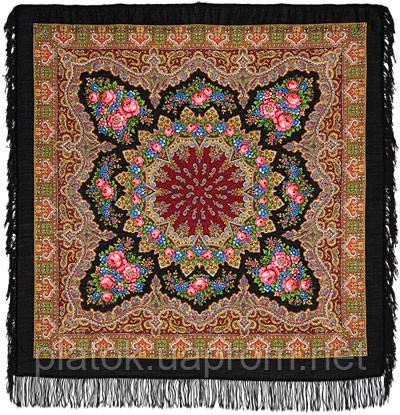 Ласковый вечер в лоскуте 1184-18-, павлопосадский платок (лоскут) шерстяной с оверлок (подрубка) БЕЗ БАХРОМЫ
