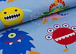 "Хлопковая ткань ""Чудики"" на серо-голубом фоне (№ 961а), фото 6"