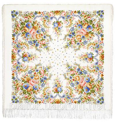 Малиновка в лоскуте 1346-2-, павлопосадский платок (лоскут) шерстяной с оверлок (подрубка) БЕЗ БАХРОМЫ