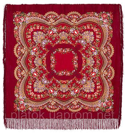 Обручальное колечко в лоскуте 1103-6-, павлопосадский платок (лоскут) шерстяной с оверлок (подрубка) БЕЗ БАХРОМЫ