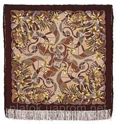 Тропический остров в лоскуте 1055-17-, павлопосадский платок (лоскут) шерстяной с оверлок (подрубка) БЕЗ БАХРОМЫ