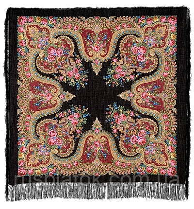 У камина в лоскуте 1154-18-, павлопосадский платок (лоскут) шерстяной с оверлок (подрубка) БЕЗ БАХРОМЫ