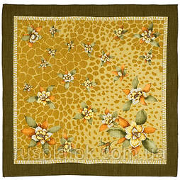 В солнечном свете в лоскуте 1245-10-, павлопосадский платок (лоскут) шерстяной  с оверлок (подрубка) БЕЗ БАХРОМЫ