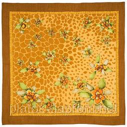 В солнечном свете в лоскуте 1245-16-, павлопосадский платок (лоскут) шерстяной  с оверлок (подрубка) БЕЗ БАХРОМЫ