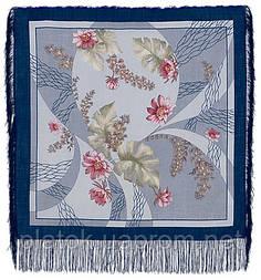 Глициния в лоскуте 1076-14-, павлопосадский платок (лоскут) шерстяной  с оверлок (подрубка) БЕЗ БАХРОМЫ