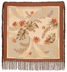 Глициния в лоскуте 1076-16-, павлопосадский платок (лоскут) шерстяной  с оверлок (подрубка) БЕЗ БАХРОМЫ