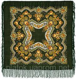 Золотые листья в лоскуте 146-10-, павлопосадский платок (лоскут) шерстяной  с оверлок (подрубка) БЕЗ БАХРОМЫ