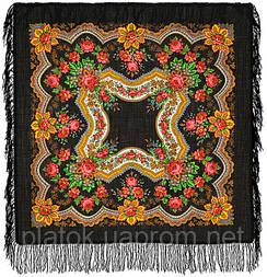 Золотые листья в лоскуте 146-18-, павлопосадский платок (лоскут) шерстяной  с оверлок (подрубка) БЕЗ БАХРОМЫ