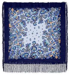 Инфанта в лоскуте 723-14-, павлопосадский платок (лоскут) шерстяной  с оверлок (подрубка) БЕЗ БАХРОМЫ