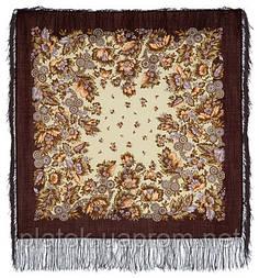 Инфанта в лоскуте 723-16-, павлопосадский платок (лоскут) шерстяной  с оверлок (подрубка) БЕЗ БАХРОМЫ