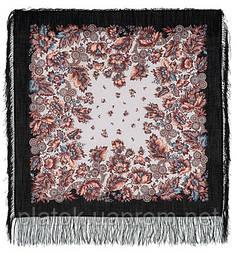 Инфанта в лоскуте 723-18-, павлопосадский платок (лоскут) шерстяной  с оверлок (подрубка) БЕЗ БАХРОМЫ