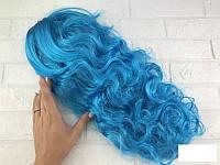 Парик карнавальный Мальвина волнистые голубые волосы
