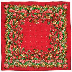 Роза с лентой в лоскуте 205-5-, павлопосадский платок (лоскут) шерстяной  с оверлок (подрубка) БЕЗ БАХРОМЫ