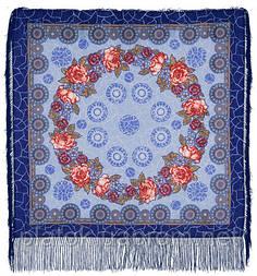 Трубадур в лоскуте 1258-14-, павлопосадский платок (лоскут) шерстяной  с оверлок (подрубка) БЕЗ БАХРОМЫ