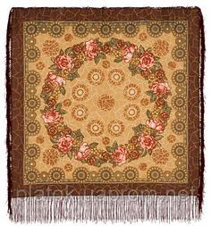 Трубадур в лоскуте 1258-16-, павлопосадский платок (лоскут) шерстяной  с оверлок (подрубка) БЕЗ БАХРОМЫ