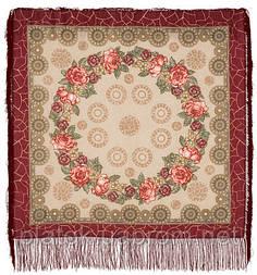 Трубадур в лоскуте 1258-5-, павлопосадский платок (лоскут) шерстяной  с оверлок (подрубка) БЕЗ БАХРОМЫ