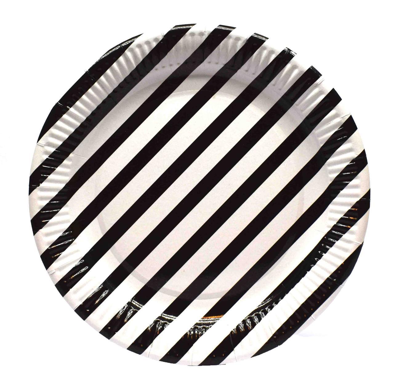 """Тарелки """"Полоска чёрная"""". Размер: 23см. В упак: 10шт."""