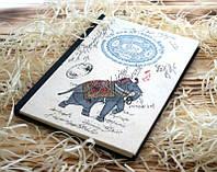 """Оригинальный Блокнот """"Джайпур"""" ручной работы с 48 листами из рисовой бумаги 21 * 14,5 * 1,5 см."""