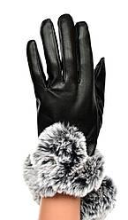 Женские перчатки с мехом на флисовой подкладке