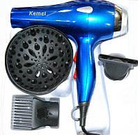 Фен с насадками и диффузором для сушки волос YRE KM-3318, синий, 1800W мощность, 2 режима нагрева, 2 скорости, в комплекте 3 насадки, фен для волос