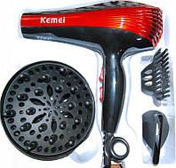 Фен с насадками и диффузором для сушки волос  YRE KM-899, черно-красный, 1800W мощность , 2 режима нагрева, 2 скорости, в комплекте 3 насадки, фен для