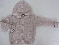 Кофточка детская вязаная с капюшоном