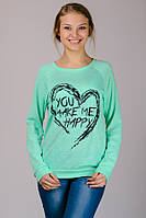 Женский свитер пуловер реглан молодежный удлиненный с принтом Сердце трикотажный мятный Украина