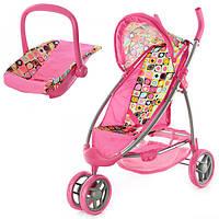 Коляска 9665 A (4шт) для куклы, прогулочная, переноска, колеса 14,5см, корзина, в кор-ке, 31-48-15см