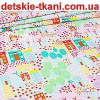 """Ткань польская """"Цветочный городок"""" в розово-оранжевых цветах, № 968а"""