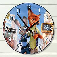 """Настенные часы в детскую - """"Зверополис"""" (на пластике)"""