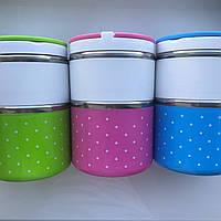 Пищевой ланч-бокс на 2 блюда 3 цвета