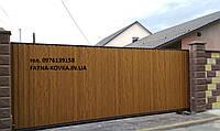 Откатные ворота с двухсторонним профнастилом ДУБ 3D + калитка 13000