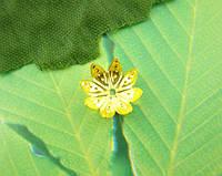 Шапочка Для Бусин, Обниматель, Медь, Цветок, Позолоченный, 10 мм