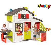 Домик детский игровой с чердаком, звонком, кухней и столиком