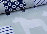 "Отрез ткани ""Контуры лошадок с синим узором"" на сером фоне, № 969а размер 70*160, фото 7"