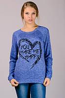 Синий джемпер реглан женский молодежный удлиненный принт Сердце трикотажный Украина
